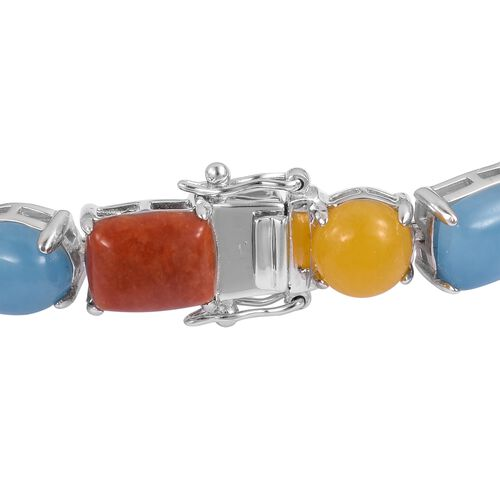 Cocktail Collection- Multi Colour Jade Bracelet (Size 7.5) in Rhodium Plated Sterling Silver 48.880 Ct. Silver wt 14.57 Gms.