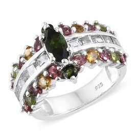 Rainbow Tourmaline (Mrq), White Topaz Ring in Platinum Overlay Sterling Silver 3.500 Ct. Silver wt 5