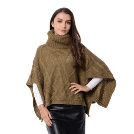 Wave Pattern Poncho with High Neck (Size 90x48x33 Cm) Invisible Green Colour