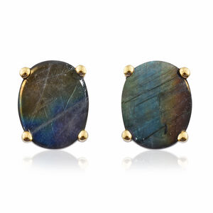 Natural Spectrolite (Ovl) Stud Earrings (with Push Back) in 14K Gold Overlay Sterling Silver 3.500 Ct.