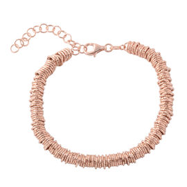 Italian Made Hand knotted Bracelet in Rose Gold Plated Silver 19.20 Grams 7 With 2 inch Extender