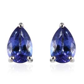 RHAPSODY 950 Platinum AAAA Tanzanite (Pear 7x5 mm) Stud Earrings (with Screw Back) 1.400 Ct
