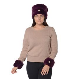 2 Piece Set - Faux Fur Cossack Hat (Size 15.2x58.4 Cm) and Wrist Warmer Cuff (Size 10.2x17.8 cm) wit