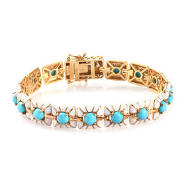 8 Carat Arizona Sleeping Beauty Turquoise Enamelled Station Bracelet in Gold Plated Silver 7.5 Inch
