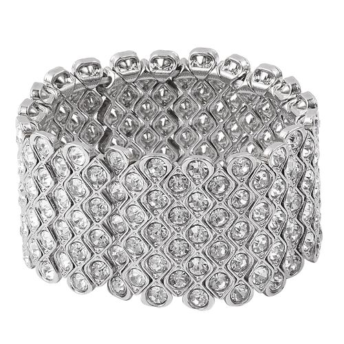Designer Inspired- White Austrian Crystal Stretcheble Bracelet (Size 7) in Silver Plated.