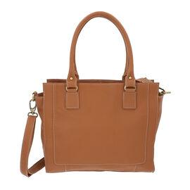 100% Genuine Leather Shoulder Bag with Detachable and Adjustable Strap (Size 33x22x8.5 Cm) - Camel