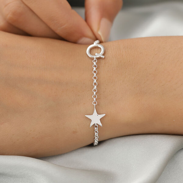 Personalised Single Alphabet + Star, Name Bracelet  in Silver, Size - 7.5 Inch