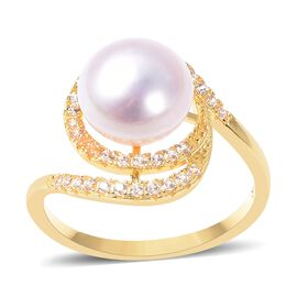 Freshwater Pearl (Rnd), Natural White Cambodian Zircon Swirl Ring (Size T) in Yellow Gold Overlay Sterling Si