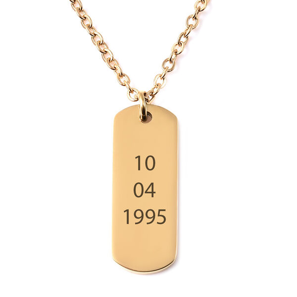 Personalised Engravable Dog Tag Necklace, Size 18+2 Inch, Stainless Steel