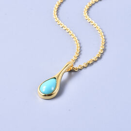 LucyQ Arizona Sleeping Beauty Turquoise Drop Pendant with Chain (Size 20) in Yellow Gold Overlay Sterling Silver