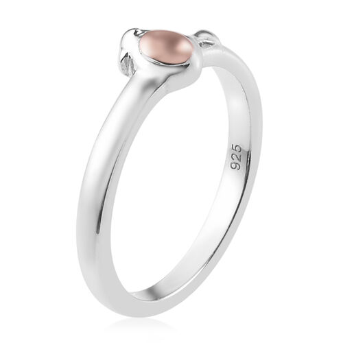 Platinum and Rose Gold Overlay Sterling Silver Robin Bird Ring