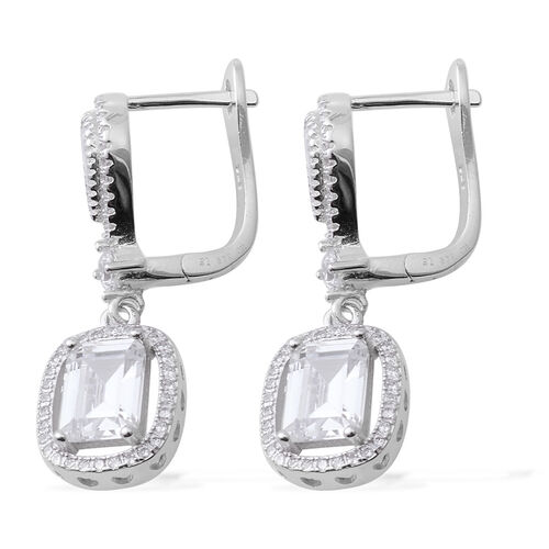 Brilliant Cut ELANZA Simulated Diamond (Oct) Earrings (with Clasp Lock) in Rhodium Plated Sterling Silver.Stone Studded 124