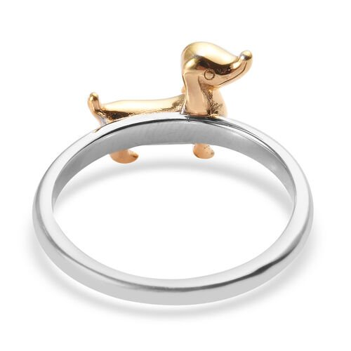 Platinum and Yellow Gold Overlay Sterling Silver Dog Ring