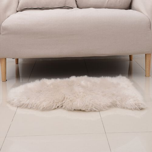 Faux Sheep Skin Rug (Size 100x60 Cm) - White