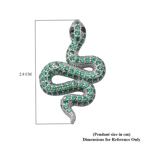 ELANZA Serpent Collection- Simulated Peridot and Simulated Black Spinel Serpent Pendant in Rhodium Overlay Sterling Silver