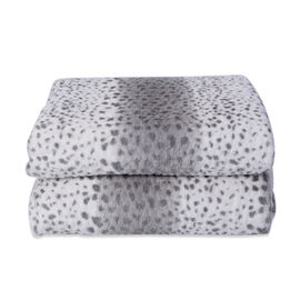 Faux Fur Leopard Pattern Sherpa Blanket (Size 150x200cm) - Light Grey and White