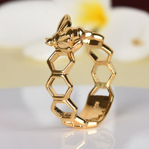 14K Gold Overlay Sterling Silver Honeycomb Bee Ring