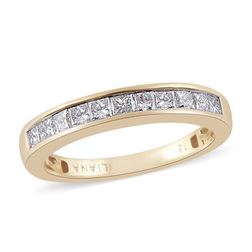 ILIANA 18K Yellow Gold IGI Certified Diamond (Sqr) (SI/G-H) Half Eternity Band Ring 0.500  Ct.