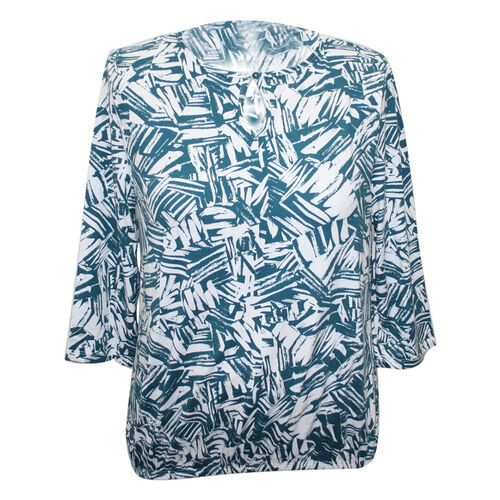 Aura Boutique Supersoft Teal Printed Top (Size S)