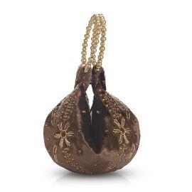 Weaved Embellishment Velvet Potli Bag (Size 16.51x24.13 Cm) - Brown