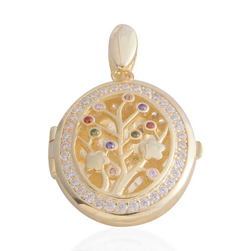Mega Day Special Deal- ELANZA Simulated Diamond (Rnd) Tree of Life Locket Pendant in Yellow Gold Overlay Sterling Silver, Silver wt 6.30 Gms.