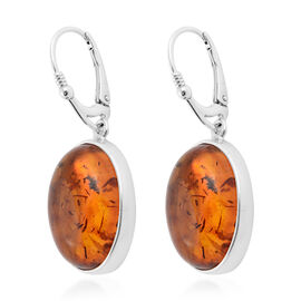 Baltic Amber (Ovl) Bezel Earrings in Sterling Silver