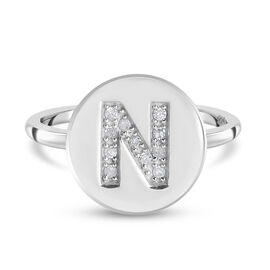 White Diamond Initial-N Ring in Platinum Overlay Sterling Silver