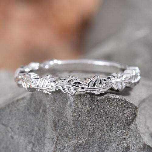 Platinum Overlay Sterling Silver Leaf Band Ring