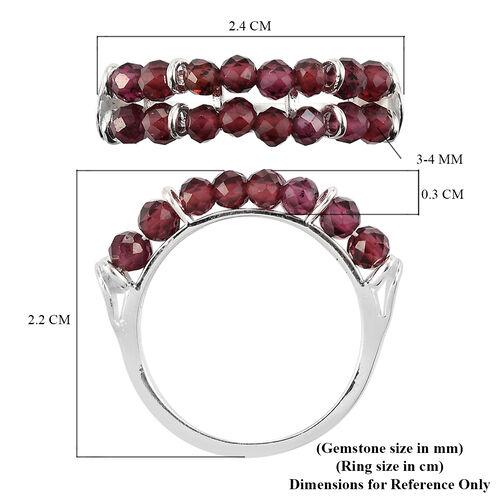 Rhodolite Garnet Two-Row Ring in Sterling Silver 3.25 Ct.
