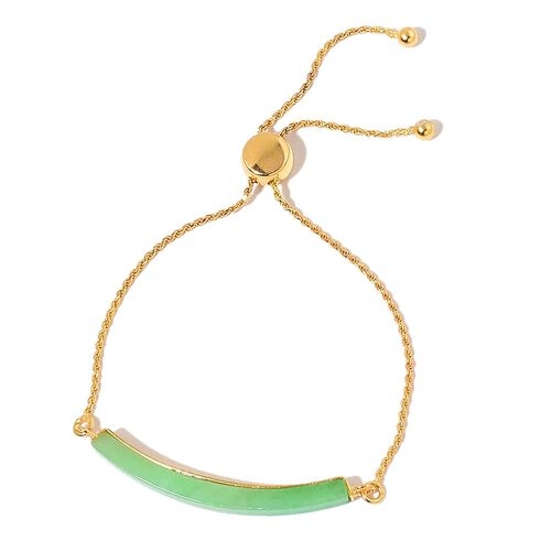 Green Jade Adjustable Bracelet (Size 6 to 8) in Yellow Gold Overlay Sterling Silver 6.750 Ct.