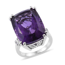 RHAPSODY 20 Carat AAAA Amethyst and Diamond Solitaire Design Ring in 950 Platinum 11 Grams