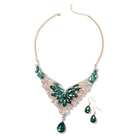 2 Piece Set - Simulated Green Spinel (Pear and Mrq), White Austrain Crystal Hook Earrings and Neckla