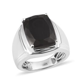 Elite Shungite (Cush 16x12 mm) Ring in Platinum Overlay Sterling Silver 7.25 Ct.