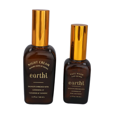 Shungite Enriched Earthi Tamarind and Turmeric Reviving Night Cream with Complementary Rose Face Was