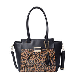 Leopard Pattern Satchel Bag with Adjustable Shoulder Strap, Tassel and Magnetic Closure in Black (32