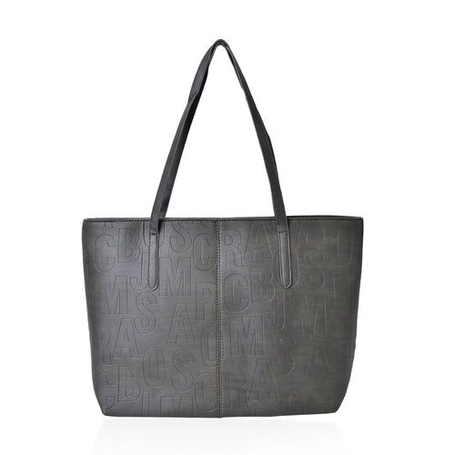 Italian Designer Inspired Embossed Dark Olive Colour Tote Bag (Size 45x33x28x12 Cm)
