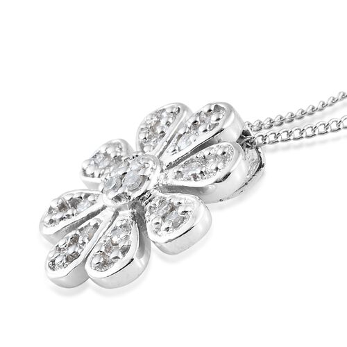 Diamond (Rnd) Flower Pendant with Chain (Size 18) in Platinum Overlay Sterling Silver 0.250 Ct.