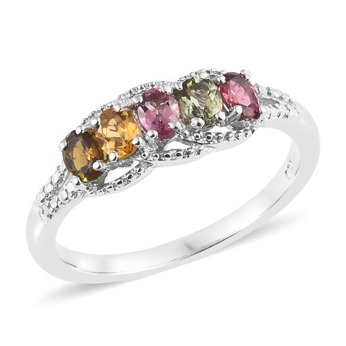 Rainbow Tourmaline (Ovl) Ring in Platinum Overlay Sterling Silver 0.750 Ct.