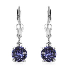 J Francis - Crystal from Swarovski Tanzanite Crystal (Rnd) Lever Back Earrings in Platinum Overlay S