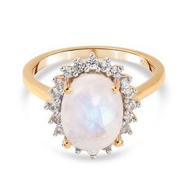 Rainbow Moonstone and Natural Cambodian Zircon Ring in 14K Gold Overlay Sterling Silver 3.55 Ct.