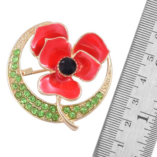 (Option 2) TJC Poppy Design - Black and Green Austrian Crystal Enameled Poppy Flower Brooch in Yellow Gold Tone