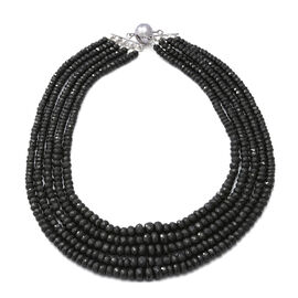 800 Carat Boi Ploi Black Spinel Multi Strand Beaded Necklace in Silver 18 Inch