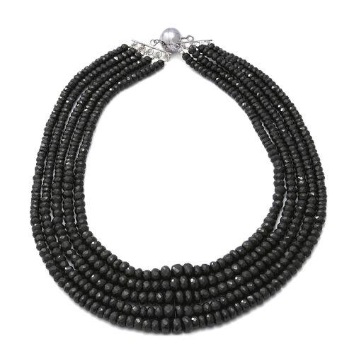 800 Carat Boi Ploi Black Spinel Multi Strand Beaded Necklace in Silver 18 Inch