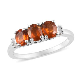 Very Rare Tanzanian Nani Hill Orange Kyanite and Diamond Ring in Platinum Overlay Sterling Silver 1.