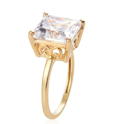 J Francis 14K Gold Overlay Sterling Silver Solitaire Ring Made with SWAROVSKI ZIRCONIA 9.24 Ct.