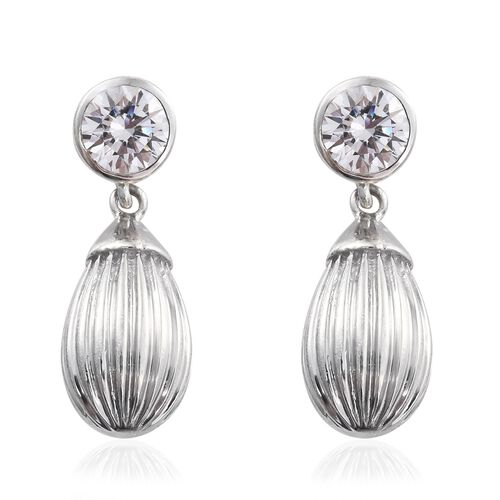 Super Auction-J Francis - Platinum Overlay Sterling Silver (Rnd) Earrings (with Push Back) Made with SWAROVSKI ZIRCONIA.Silver Wt 7.01 Gms
