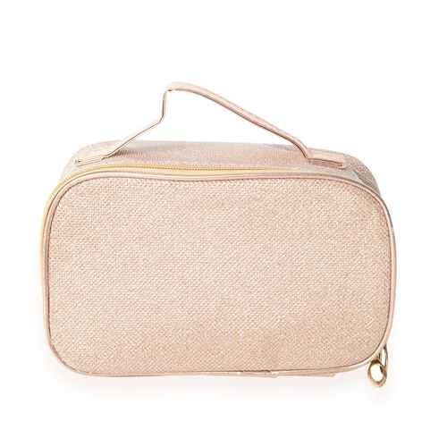 Set of 2 - Champagne Colour Water Resistant Cosmetic Bags with Multi Functional (Size 18x10x6 and 20x12.5x7.5 Cm)