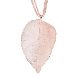 Leaf Pendant With Three String Chain (Size 29 with 2.5 Inch Extender) in Rose Gold Plated