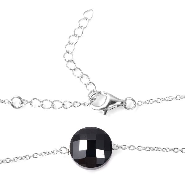 Natural Boi Ploi Black Spinel (Ovl) Station Necklace (Size 26 with 2 inch Extender) in Rhodium Overlay Sterling Silver 106.50 Ct.