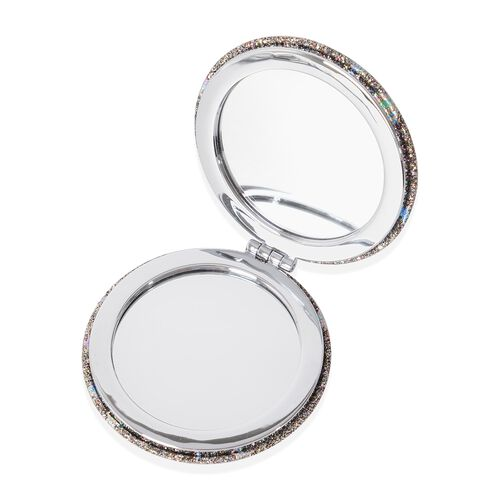 BEAUTY ESSENTIALS- Star Pattern Silver Colour Dual Sided Compact Mirror, Pill Box, Nail Clipper, Nail File and Nail Polisher